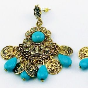 REPUBLIQUE FRANCAISE COIN EARRINGS TURQUOISE NEW